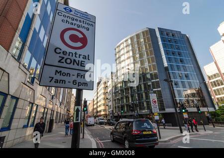 Congestion Charge zone sign, London, UK - Stock Photo
