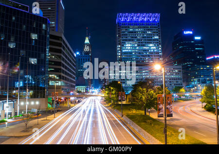 Long Exposure of the Inner Harbor at Night Time in Baltimore, Maryland - Stock Photo
