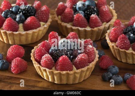 Summer fruit tarts - Stock Photo
