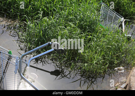 Dumped shopping trolley in the River Sow in Stafford - Stock Photo