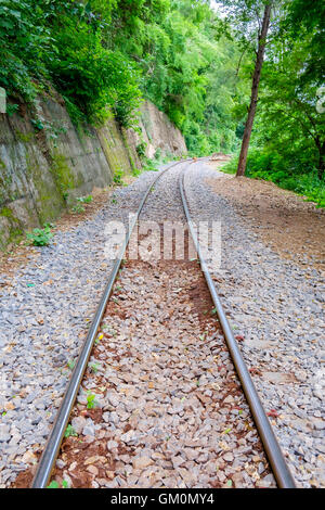 The Death Railway along the cliff and tree located at Kanchanaburi, Thailand. - Stock Photo