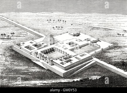 Reconstruction of the North West Palace of Ashurnasirpal II, Assyria, Iraq - Stock Photo
