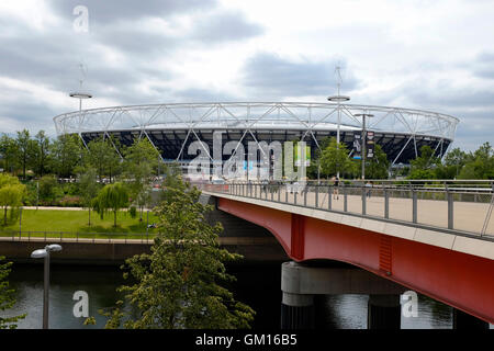 London Stadium, home of West Ham united football club in the Queen Elizabeth Olympic Park - Stock Photo