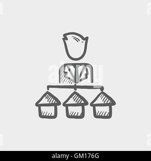 Agent with three houses for sale sketch icon - Stock Photo