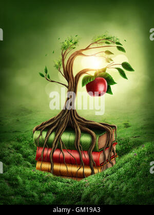 Tree of knowledge and forbidden fruit growing out of book - Stock Photo
