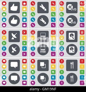 Hand, Rocket, DVD, Satellite dish, Laptop, Hard drive, Chat bubble, Copy, Fork and knife icon symbol. A large set - Stock Photo