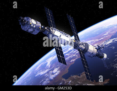 International Space Station Orbiting Earth. 3D Illustration. - Stock Photo