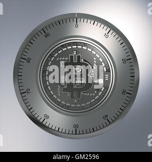 Concept Of Bitcoin Like A Security Lock. 3D Illustration. - Stock Photo