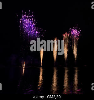 fireworks at lake in munich - Stock Photo