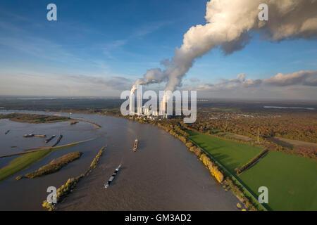 Aerial view, looking over the Rhine at Dinslaken, autumn floods, inland waterways, power plant Voerde, chimneys - Stock Photo