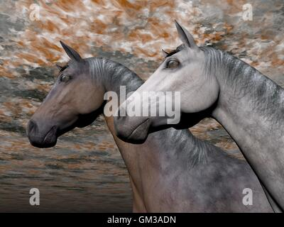 Portrait of two horses - 3D render - Stock Photo