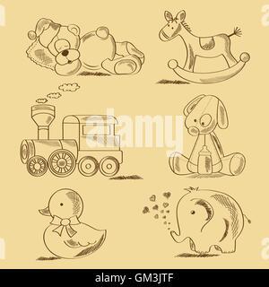 hand drawn toys - Stock Photo
