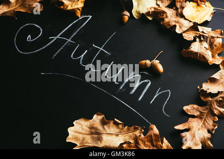 yellow leaves and the inscription autumn on a blackboard. - Stock Photo