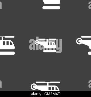helicopter icon sign. Seamless pattern on a gray background. Vector - Stock Photo