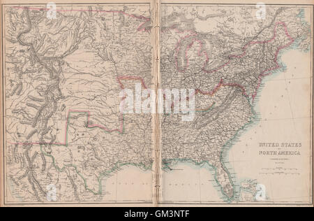 CIVIL WAR USA Showing Union Confederate Border States ETTLING - Union confederate us territories and borderstates map