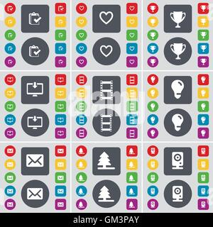Task completed, Heart, Cup, Monitor, Negative films, Light bulb, Message, Firtree, Speaker icon symbol. A large - Stock Photo