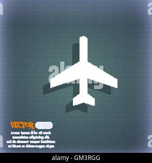 airplane icon symbol on the blue-green abstract background with shadow and space for your text. Vector