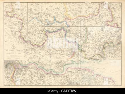 'THE RIVER THAMES FROM ITS SOURCE TO THE SEA'. Thames Valley. WELLER, c1863 map - Stock Photo