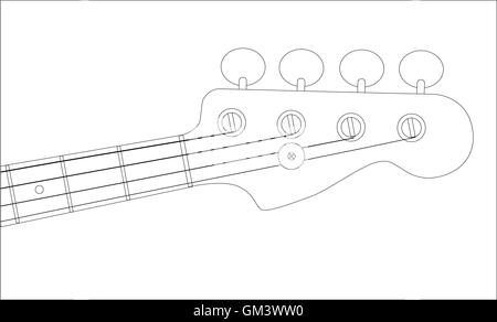 Modern Bass Guitar Neck Strings Closeup Angle Shiny Headstock Outline