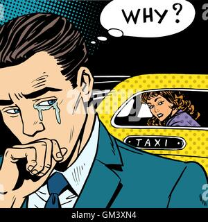 man weeps his woman is leaving by taxi - Stock Photo