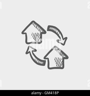 Two little houses sketch icon - Stock Photo