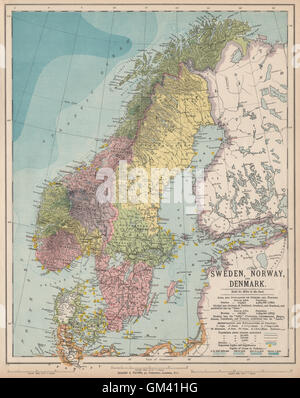 SCANDINAVIA Sweden Norway Denmark Baltic Railways BARTHOLOMEW - Norway lighthouses map