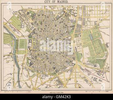 MADRID antique town city map plan. Railways. LETTS, 1889 - Stock Photo