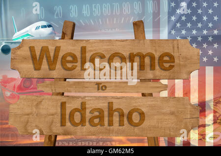 Welcome to Idaho state in USA sign on wood, travell theme - Stock Photo