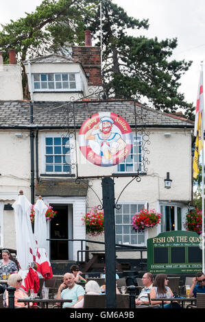 Pub sign for the Jolly Sailor in Maldon, Essex. - Stock Photo