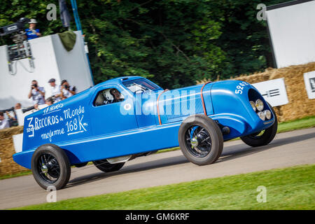 1934 Renault Nervasport endurance racer with driver Hugues Portron at the 2016 Goodwood Festival Of Speed, Sussex, - Stock Photo