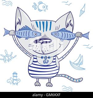 Funny Vector Cat with Fishes - Stock Photo
