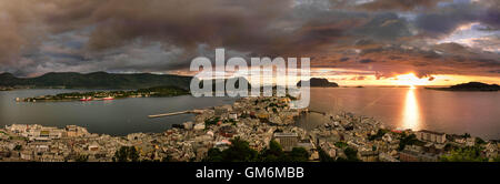 Panorama on Alesund from view point on Akslafjell. Norway - Stock Photo
