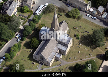 aerial view of St Mary's C of E Church in Bampton, Oxfordshire, UK - Stock Photo