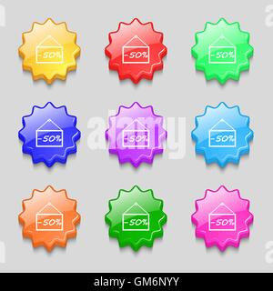50 discount icon sign. Symbols on nine wavy colourful buttons. Vector - Stock Photo