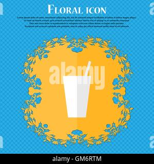 cocktail. Floral flat design on a blue abstract background with place for your text. Vector - Stock Photo