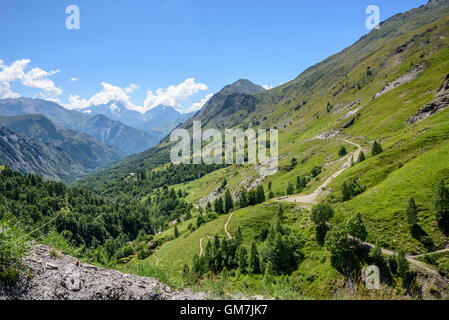 Panoramic view of Valley Ferrand in the Alps, Oisans, France, Europe - Stock Photo