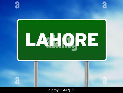Green Road Sign - Lahore - Stock Photo