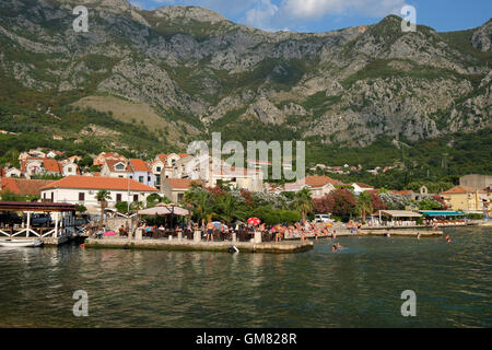RISAN, MONTENEGRO - JULY 30, 2016: View on town of Risan, Montenegro. Risan is the oldest settlement in the Bay - Stock Photo