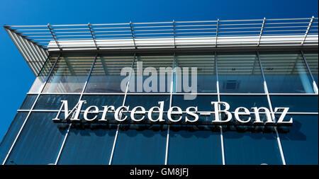 Exterior of the Mercedes Benz showroom in Brentford, west London, UK - Stock Photo