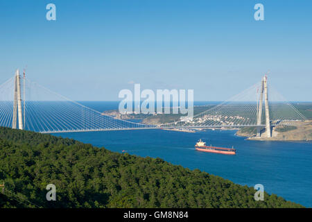 Aerial view of Yavuz Sultan Selim Bridge at Bosphorus, istanbul - Stock Photo