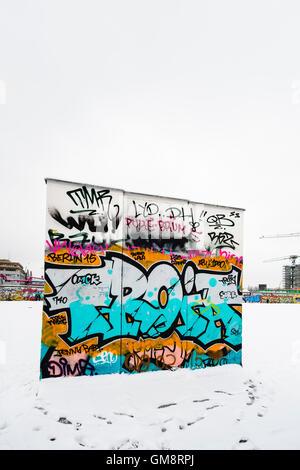 Segment of the Berlin Wall, East Side Park, Berlin, Germany - Stock Photo