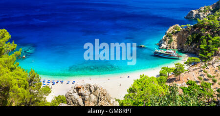 beautiful scenic beach Apella. Karpathos island, Greece - Stock Photo