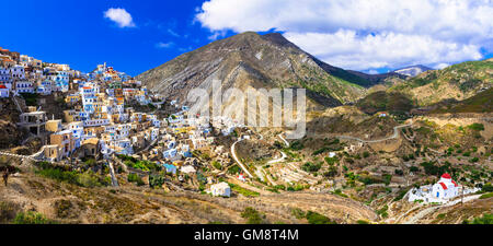 panoramic view of impressive mountain  village Olimbos in Karpathos island, Greece - Stock Photo