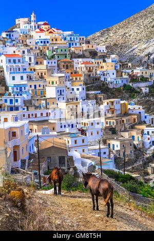 Colorful tradtional village Olimbos, Karpathos island, Greece - Stock Photo