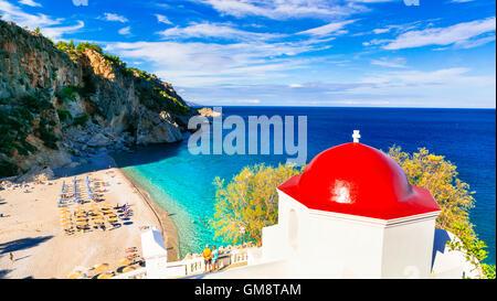 beautiful beaches of Greece - Kyra Panagia in Karpathos island - Stock Photo