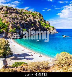 beautiful beaches of Greece - Achata in Karpathos island - Stock Photo