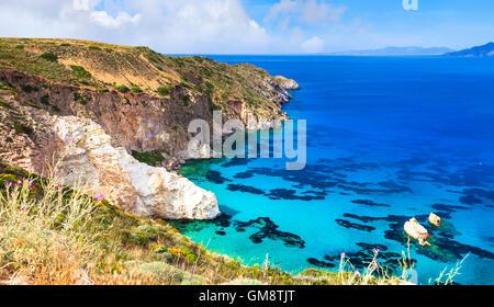 wild beautiful beaches of Greek islands - Milos, Cyclades - Stock Photo