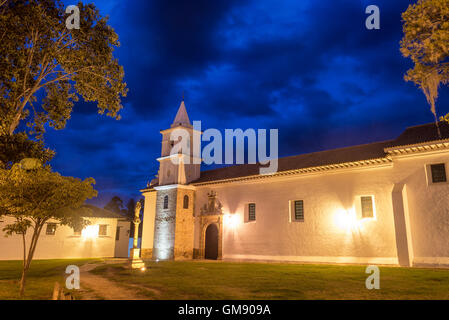 Long exposure of San Francisco convent taken during the blue hour in Villa de Leyva, Colombia - Stock Photo