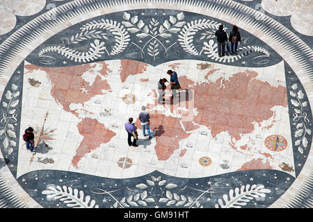 Mosaic map viewed from the top of the Monument to Discoveries in Belem, Lisbon, Portugal - Stock Photo