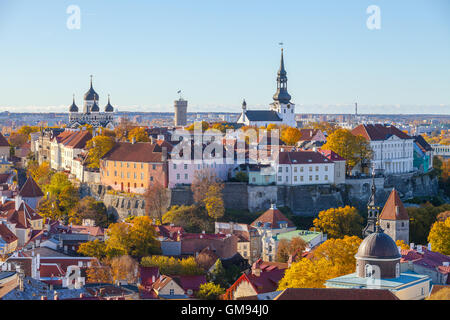 Old town and Toompea hill with tower Pikk Hermann and Russian Orthodox Alexander Nevsky Cathedral and Dome Church, - Stock Photo